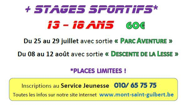 Jeunesse   stages sportifs 2016