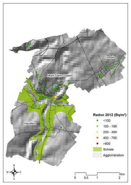 radon   plan de Mont Saint Guibert